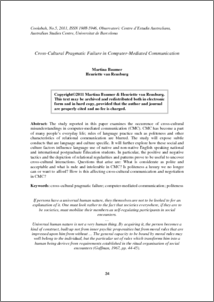 an analysis of the cross cultural misunderstandings in computer meditated communication cmc Affect perception in computer mediated communication  and attitude toward cmc variables the analysis was significant,  and is a cross-cultural experience.