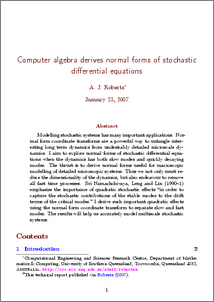 Computer algebra derives normal forms of stochastic