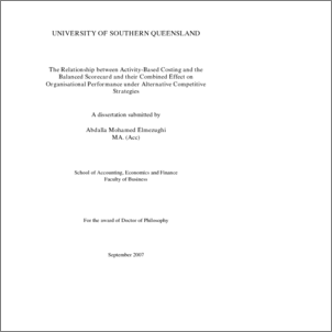 activity based costing thesis