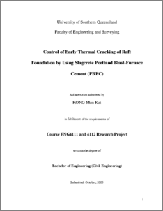 Control Of Early Thermal Cracking Of Raft Foundation By Using