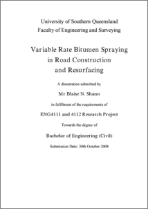 Variable rate bitumen spraying in road construction and resurfacing