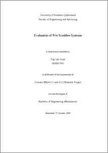 Evaluation of wet scrubber systems - USQ ePrints