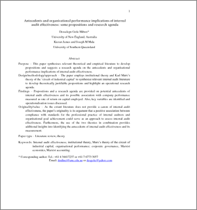 Antecedents and organisational performance implications of